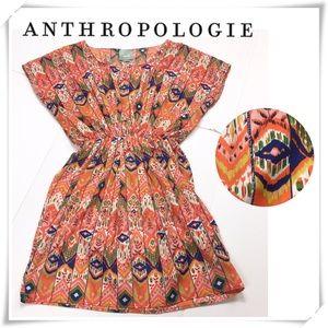 Anthropologie Maeve Graphic Print Dress Orange